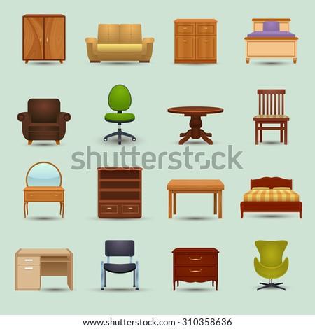 Furniture icons set with desk sofa bookshelf wardrobe office chair isolated  illustration - stock photo