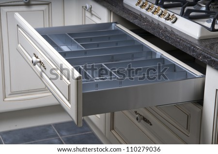 Furniture of the classic italian kitchen - stock photo