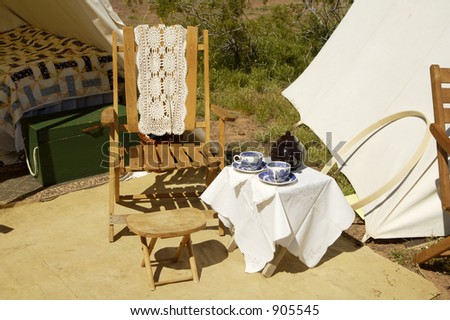 Furniture on display in a civil war encampment. - stock photo
