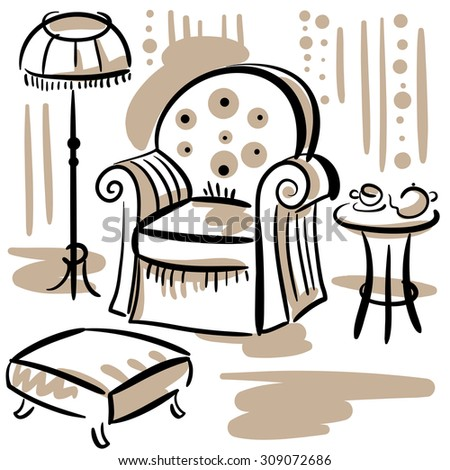 Furniture set for living room with an arm chair, floor lamp, ottoman and coffee table. Hand drawn illustration. - stock photo