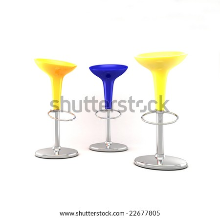 Furniture: three colorated stool - stock photo