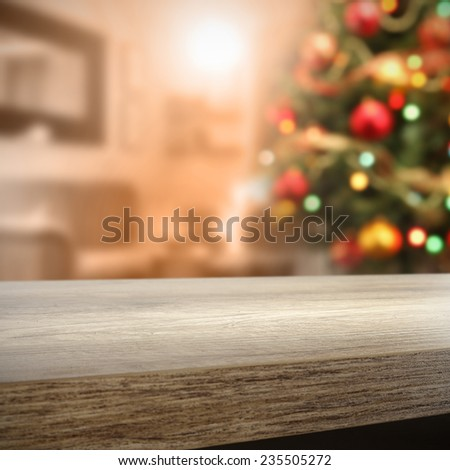 furniture top and xmas tree  - stock photo