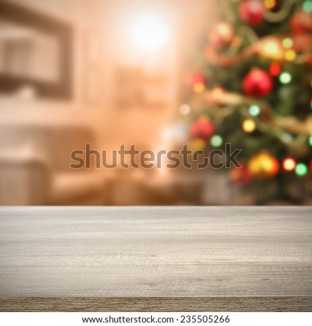 furniture top and xmas tree in home  - stock photo