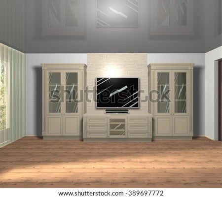 furniture TV area in classic style, interior of living room 3D rendering