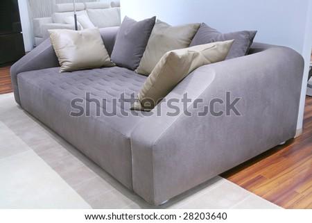 Velour Sofa furniture velour sofa leather pillows stock photo royalty free