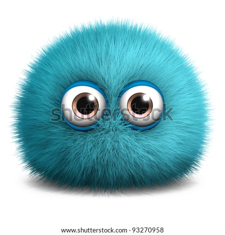 furry blue monster - stock photo