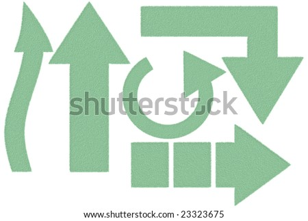 Furry green arrows over white background