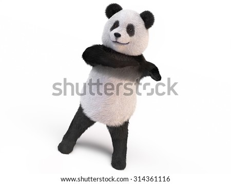 furry panda stands on two legs and makes twisting the body. bamboo bear is endangered species animals protected by World Wildlife Fund. rare animals survivors  - stock photo