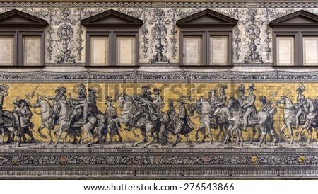 Furstenzug giant mural decorates mosaic wall. Dresden, Germany.  - stock photo