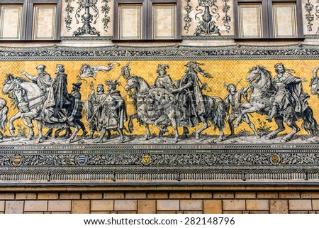 Furstenzug (Procession of Princes, 1871-1876, 102 meter, 93 people) is a giant mural decorates the wall. Dresden, Germany. It depicts to celebrate the 800 year anniversary of the Wettin Dynasty. - stock photo