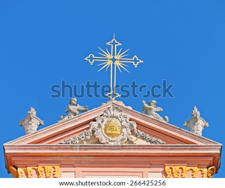 FURTH, AUSTRIA - 20 March 2015: Details of the church of the Benedictine monastery Goettweig, which is a famous landmark in Lower Austria and  a UNESCO world heritage site.  - stock photo