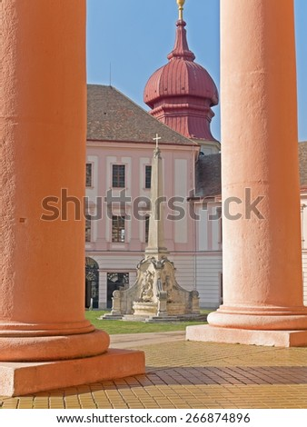 FURTH, AUSTRIA - 20 March 2015: The Benedictine monastery Goettweig is a famous landmark in Lower Austria and  a UNESCO world heritage site.  - stock photo