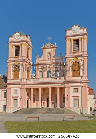 FURTH, AUSTRIA - 20 March 2015: The church of the Benedictine monastery Goettweig, which is a famous landmark in Lower Austria and  a UNESCO world heritage site.  - stock photo