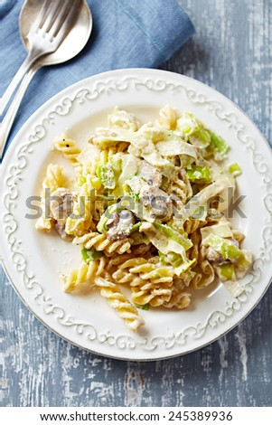 Fusilli pasta  with mushrooms, leek and mascarpone sauce - stock photo