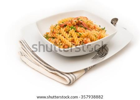 Fusilli with shrimps and tomato sauce, Italian Pasta - stock photo
