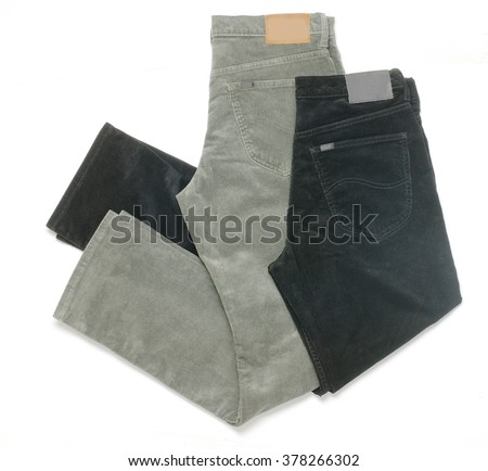 fustian trousers folded in pan isolated