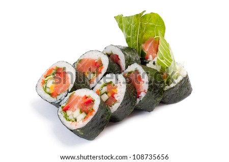 Futomaki. Salman. On a white background. Salmon, tomatoes, Bulgarian pepper, cucumber, avocado, lettuce, leeks, tobikko, mayonnaise.