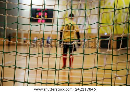 futsal goalkeeper - stock photo