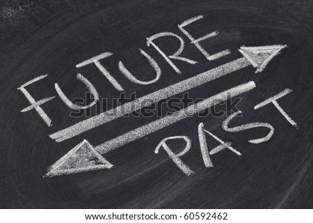 future and past concept - white chalk handwriting and drawing on blackboard - stock photo