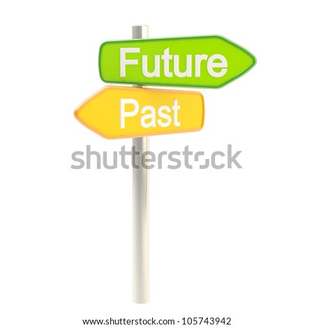 Future and past road sign signpost isolated on white