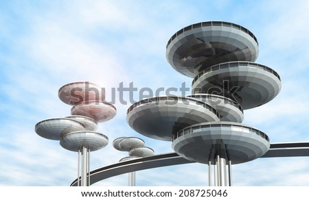 Future architecture. Modern building. Fantastic project - stock photo