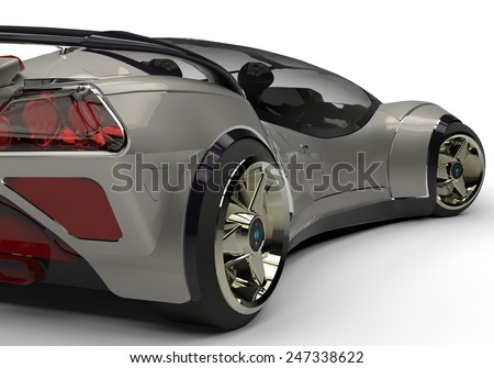 future car silver back side view - stock photo