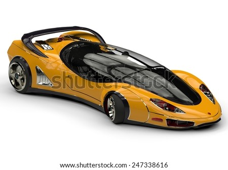 future car yellow side view - stock photo