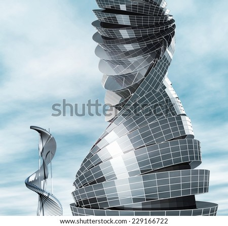 Future city. Design for the modern building - stock photo