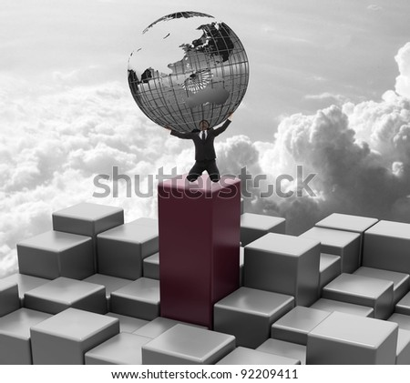 future city on the cloud - stock photo