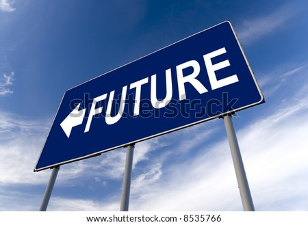 Future concept billboard and cloudy sky