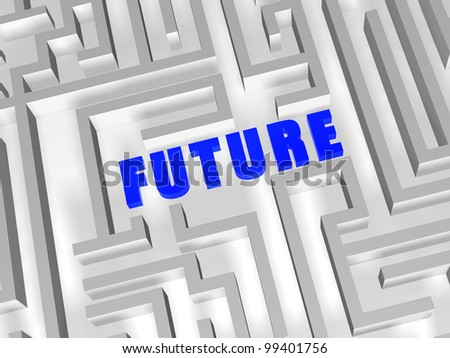 future- 3d blue text in white labyrinth - stock photo