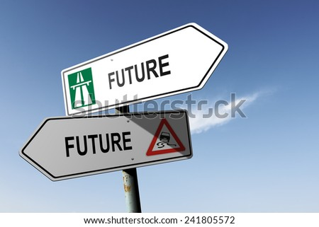 Future directions. Choice for easy way or hard way. - stock photo