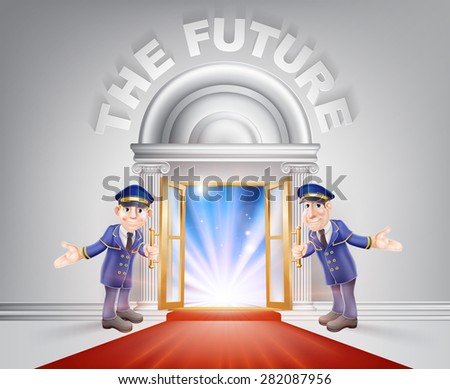 Future Door concept of a doormen holding open a red carpet entrance to the future with light streaming through it. - stock photo