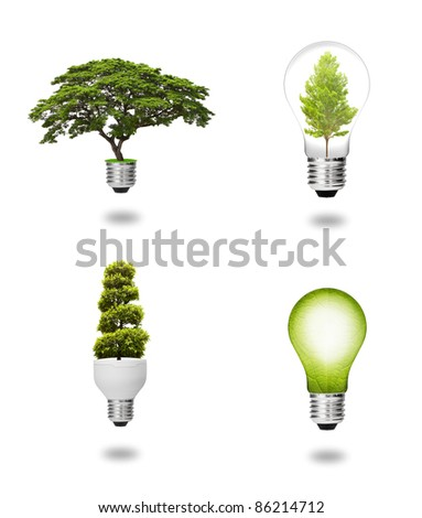 future eco energy saving concept collection, green tree and leaf growing with light bulb isolated - stock photo