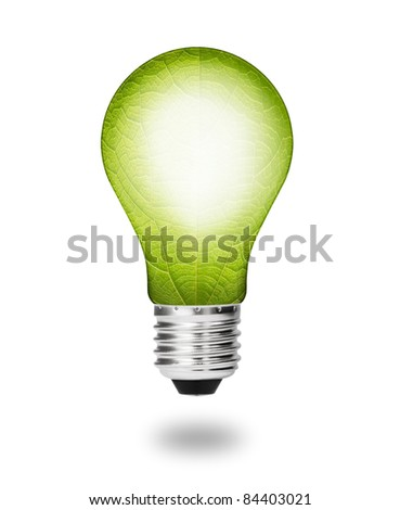 future  eco energy saving concept, new alternative natural green leaf light bulb isolated - stock photo