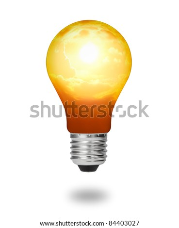 future  energy saving concept, new alternative natural sun energy in light bulb isolated