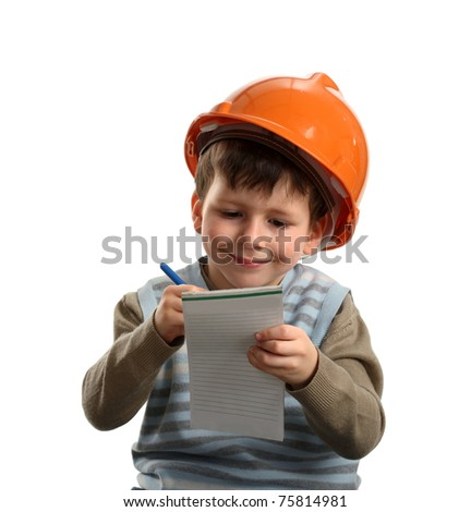 Future engineer writing on note isolated over white