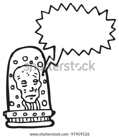 future head in jar cartoon - stock photo
