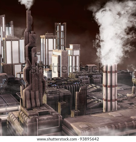 Future Industrial City - stock photo