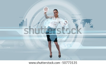 Future levitation (Attractive young adults in futuristic interfaces / interiors series) - stock photo