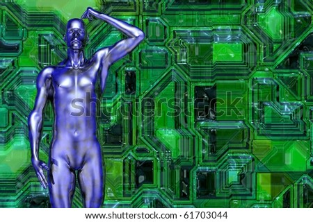 future man scratching head 3d concept render - stock photo