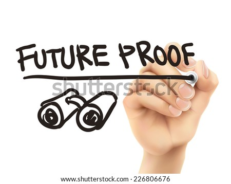 future proof words written by 3d hand over white background - stock photo