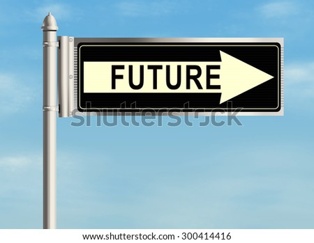 Future. Road sign on the sky background. Raster illustration.