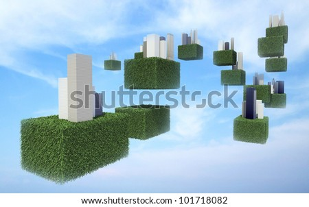 Future sky city in cloudy sky. - stock photo