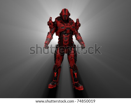 Future soldier in advanced armor - stock photo