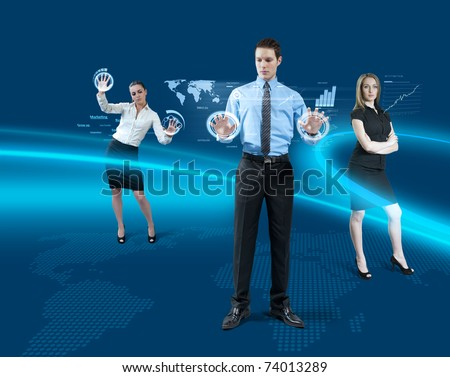 Future teamwork concept. Young man + 2 attractive girls using hologram virtual reality interface. - stock photo
