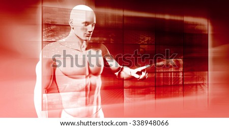 Future Technology and Touch Button Interface Illustration - stock photo