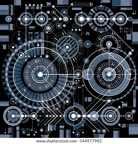 Future technology drawing, industrial wallpaper. Graphic illustration of engine or mechanism.