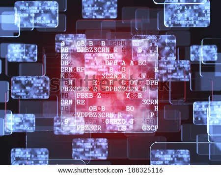 Future technology red touchscreen interface. Glass screen concept - stock photo