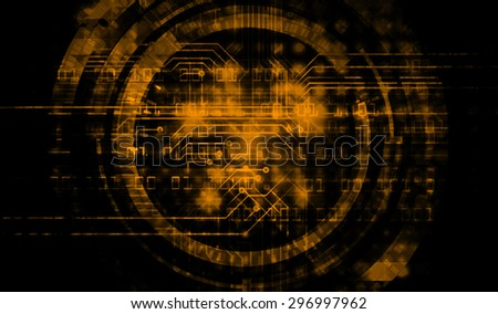future technology, security concept background. vector.dark orange Light Technology background for computer graphic website internet business. circuit. ray. pixel. one zero